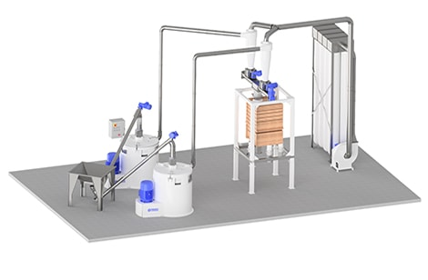 Caption Flour milling system with 2x stone mills and plan sifter