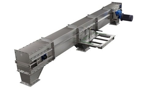 Conveyor with intermediate outlet