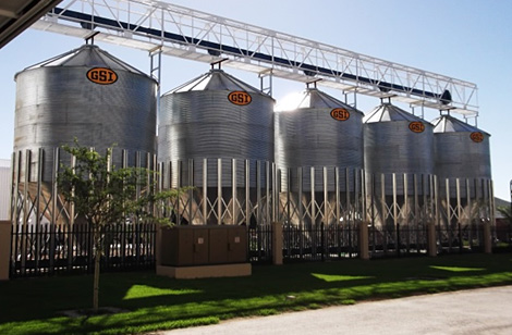 Row of Silos at commercial store