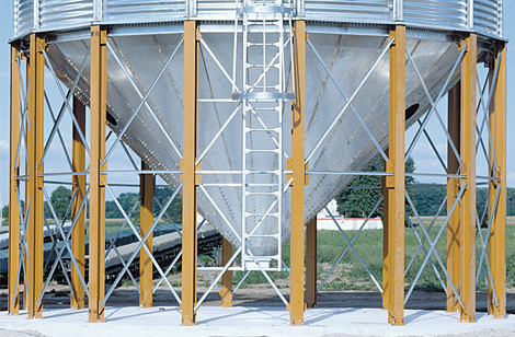 Hopper Silo legs and access ladder